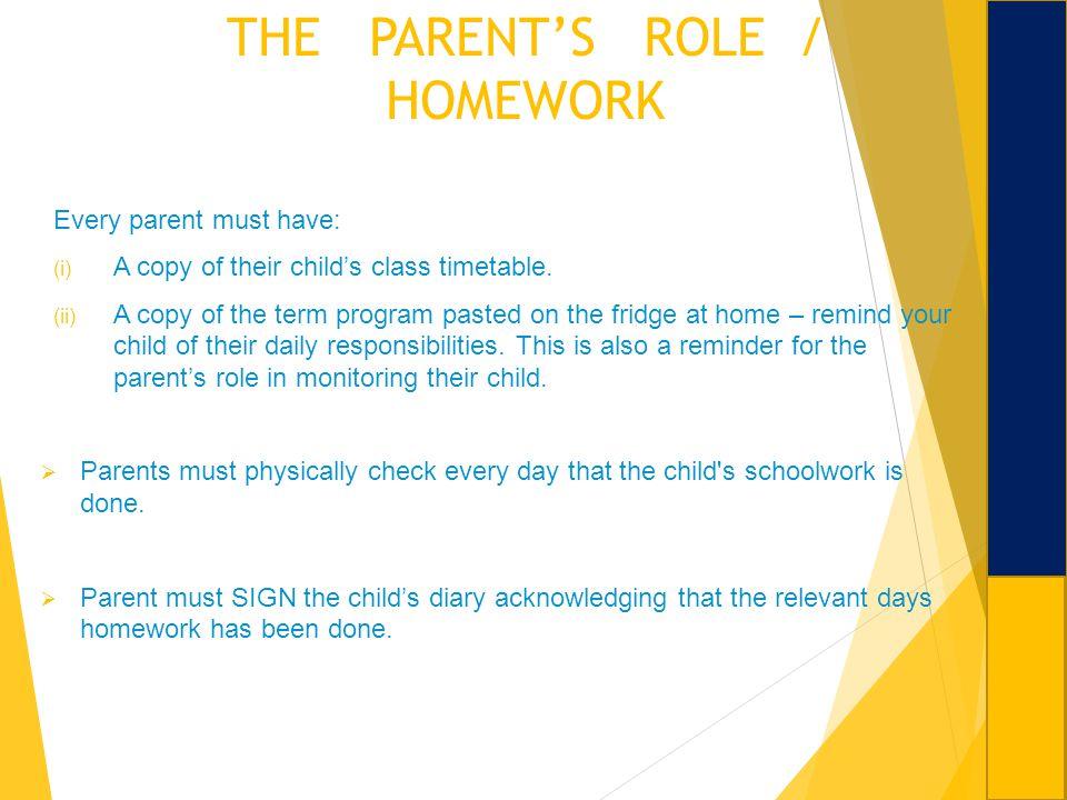 THE PARENT'S ROLE / HOMEWORK