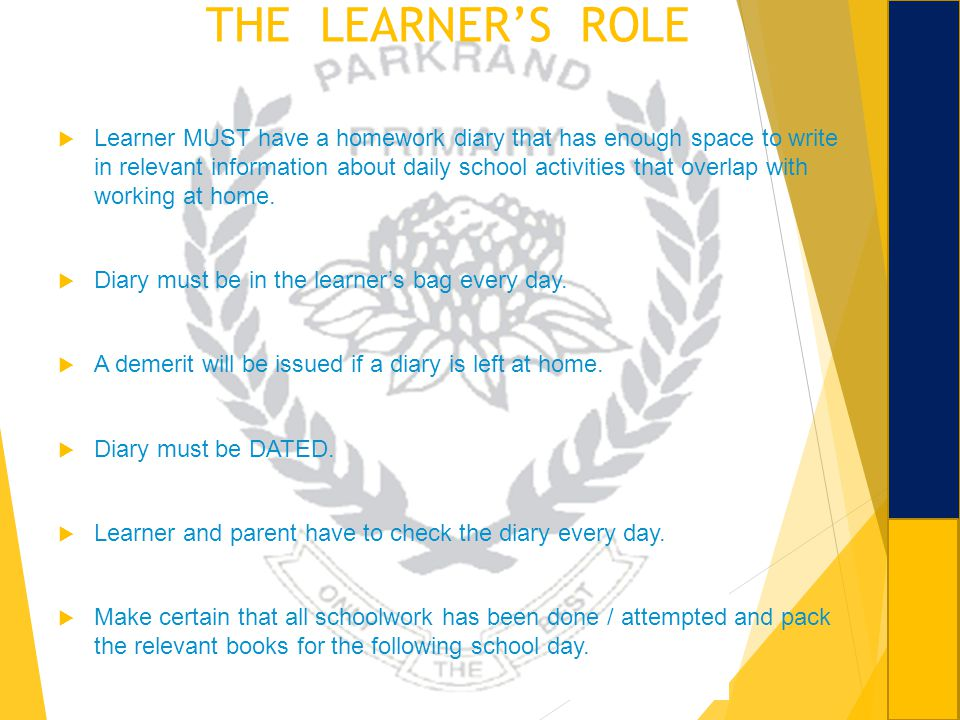 THE LEARNER'S ROLE