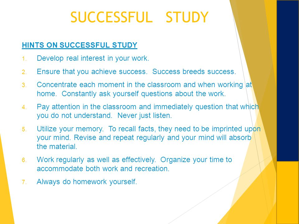 SUCCESSFUL STUDY HINTS ON SUCCESSFUL STUDY