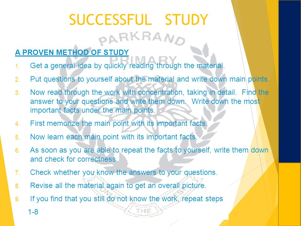 SUCCESSFUL STUDY A PROVEN METHOD OF STUDY