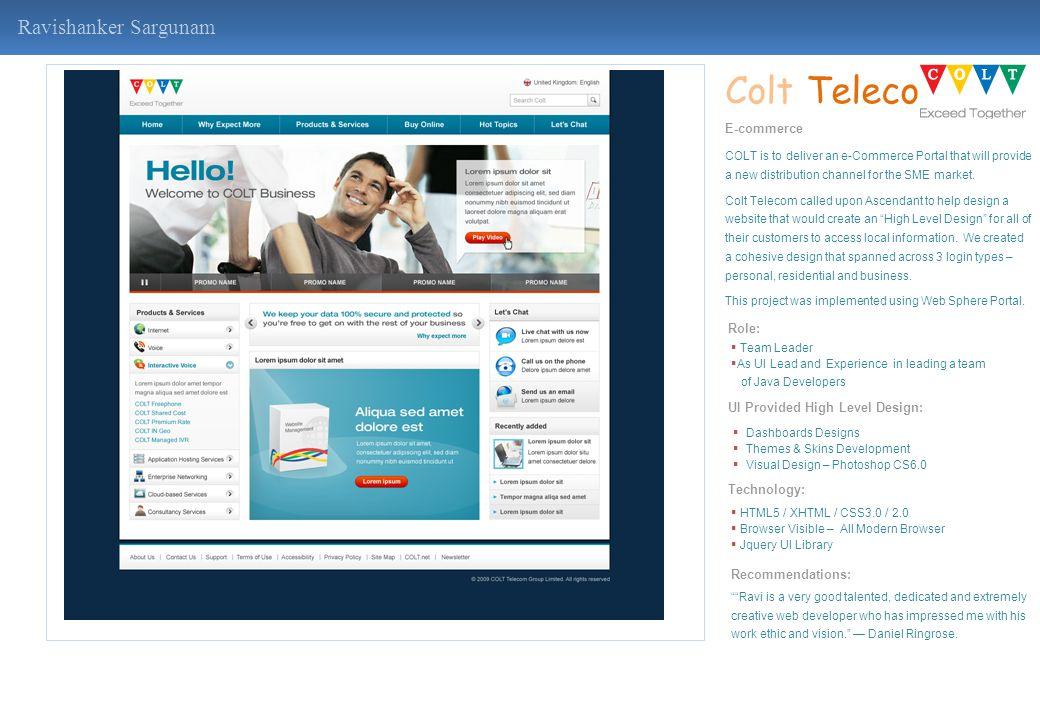 Colt Telecom Ravishanker Sargunam E-commerce Role: