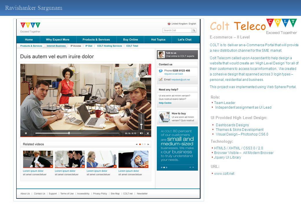 Colt Telecom Ravishanker Sargunam E-commerce – II Level Role: