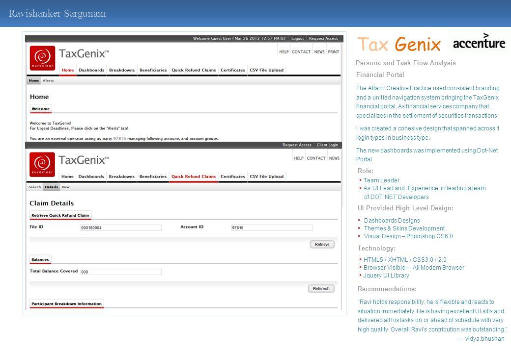 Tax Genix Ravishanker Sargunam Persona and Task Flow Analysis