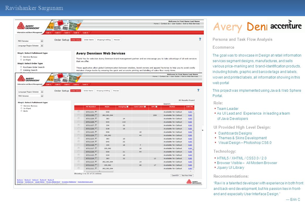 Avery Dennison Ravishanker Sargunam Persona and Task Flow Analysis