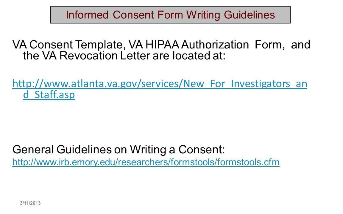 Informed Consent Form Writing Guidelines