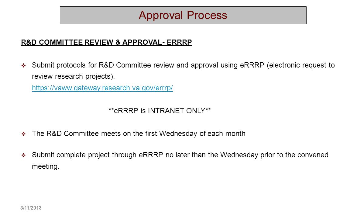 Approval Process R&D COMMITTEE REVIEW & APPROVAL- ERRRP