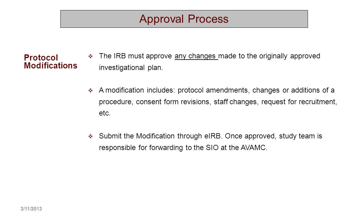 Approval Process Protocol Modifications