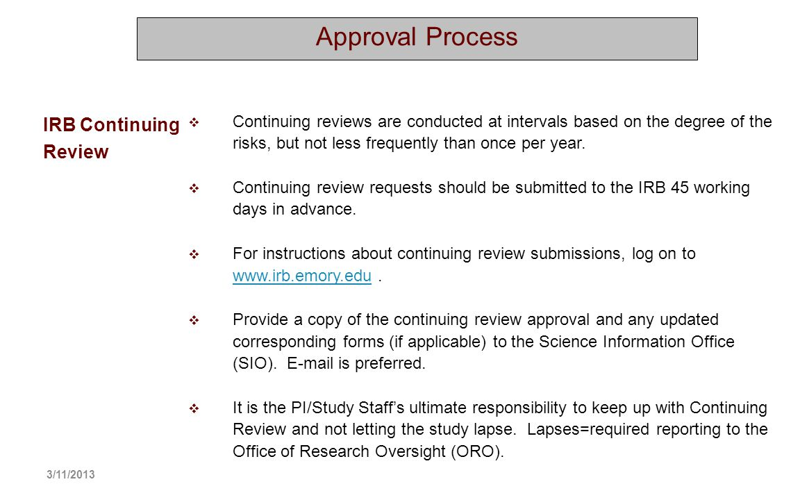 Approval Process IRB Continuing Review
