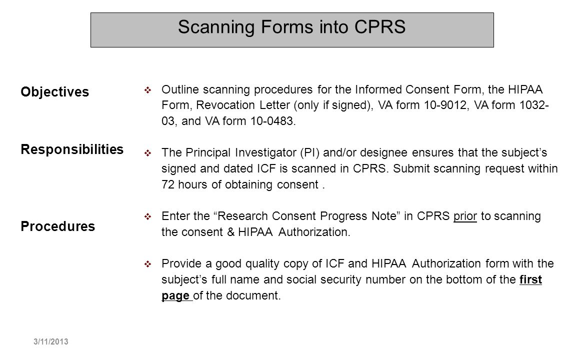 Scanning Forms into CPRS