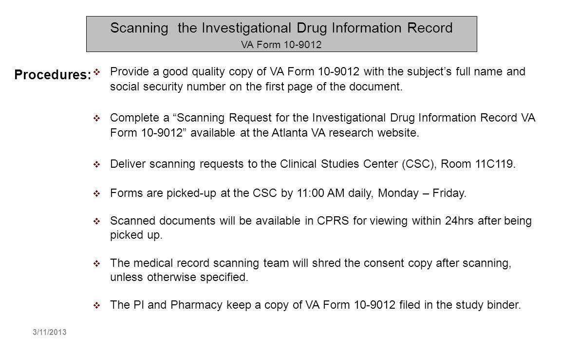 Scanning the Investigational Drug Information Record VA Form 10-9012