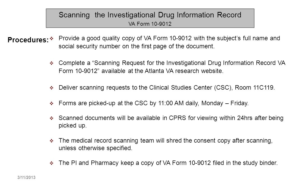 Scanning the Investigational Drug Information Record VA Form