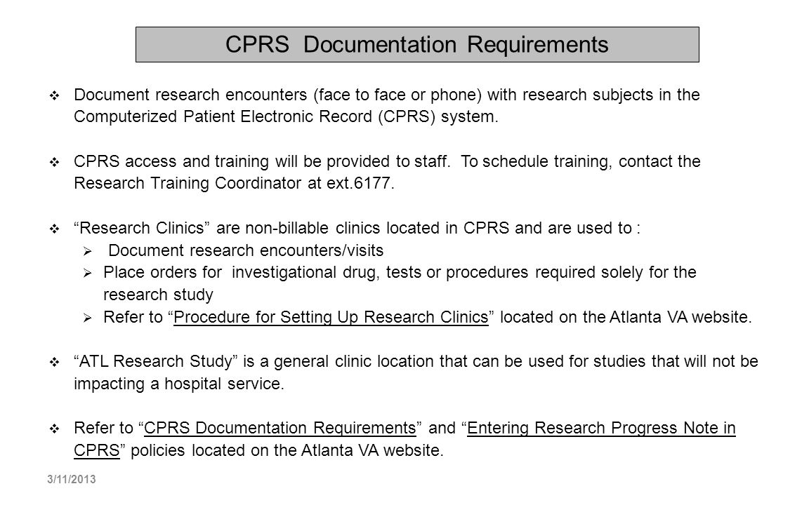 CPRS Documentation Requirements