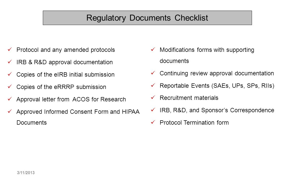 Regulatory Documents Checklist
