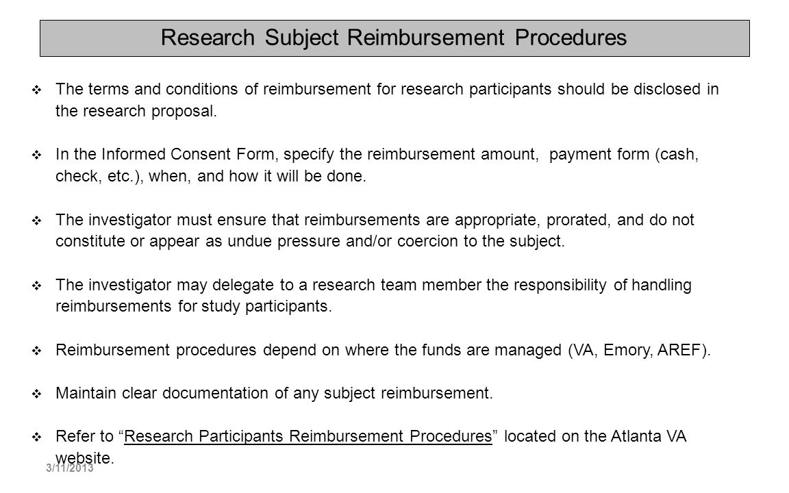 Research Subject Reimbursement Procedures