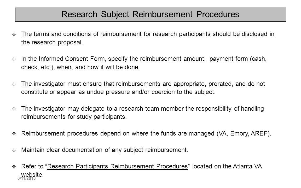 Research Subject Reimbursement Procedures