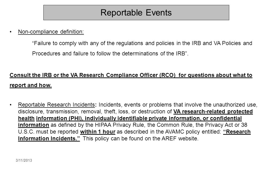 Reportable Events Non-compliance definition: