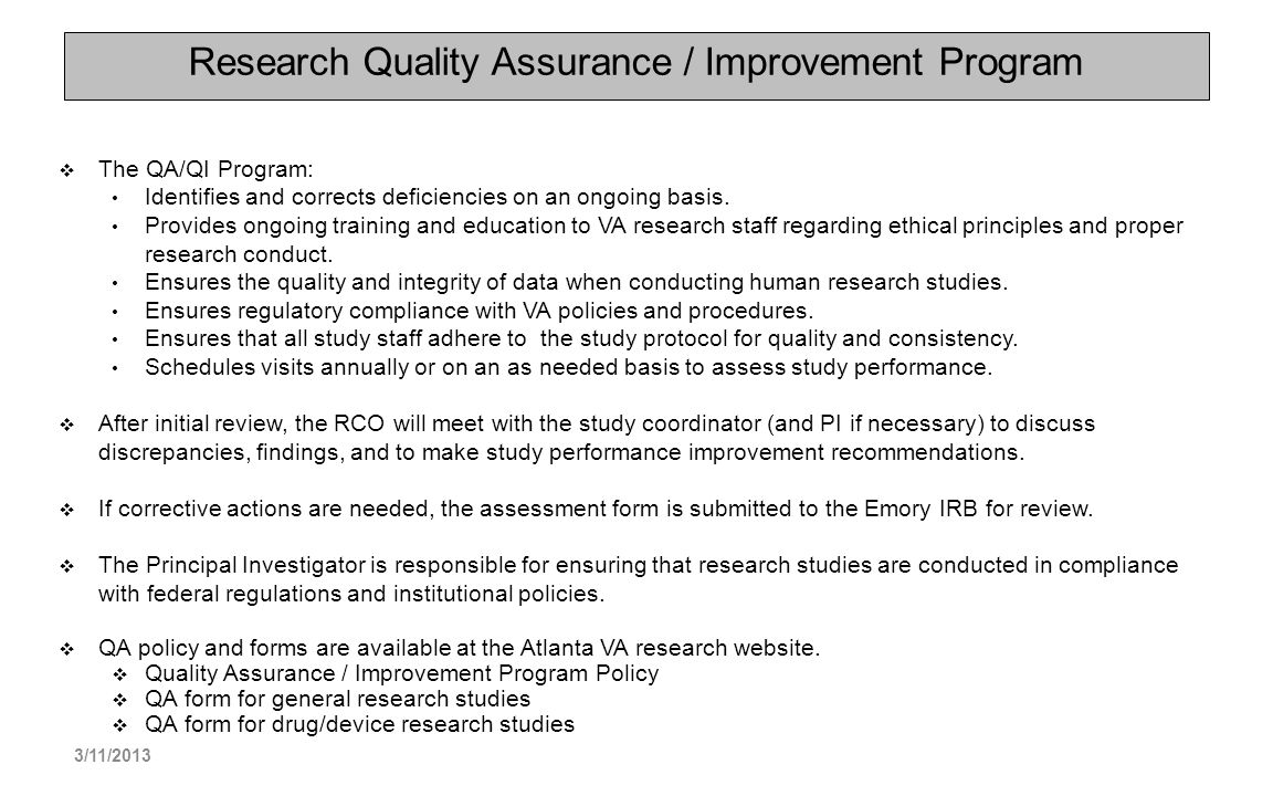 Research Quality Assurance / Improvement Program