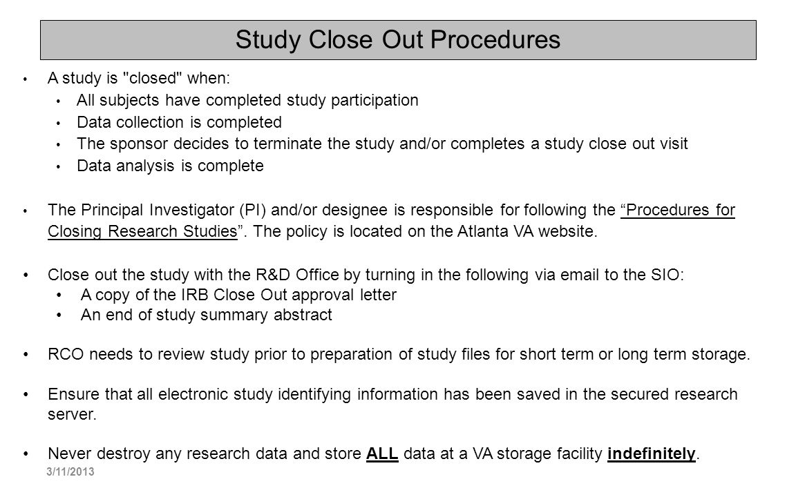 Study Close Out Procedures