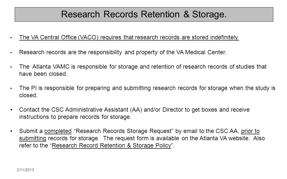 Research Records Retention & Storage.