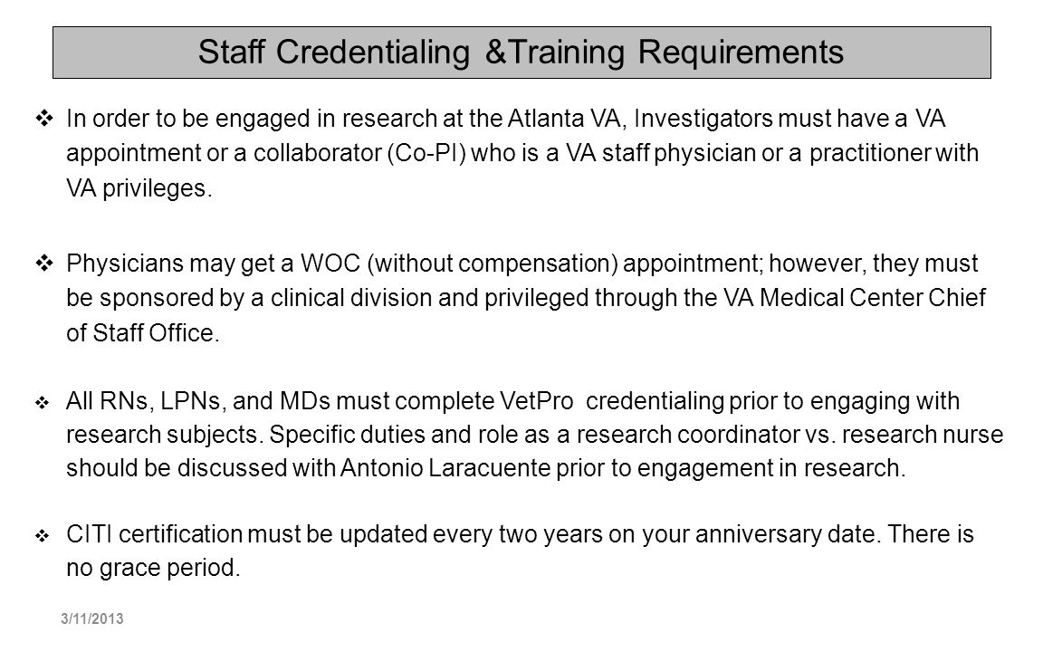 Staff Credentialing &Training Requirements