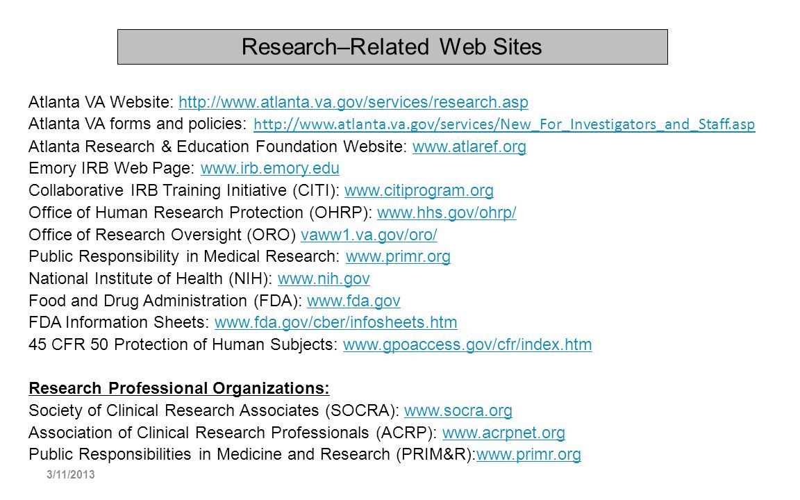 Research–Related Web Sites