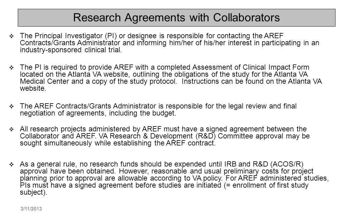 Research Agreements with Collaborators