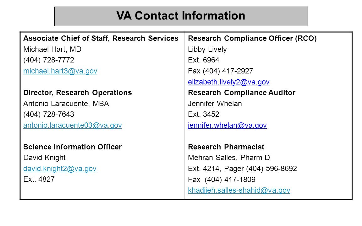 VA Contact Information Associate Chief of Staff, Research Services. Michael Hart, MD. (404) 728-7772.