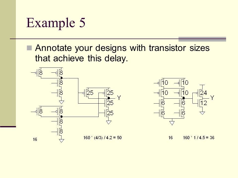 Example 5 Annotate your designs with transistor sizes that achieve this delay.