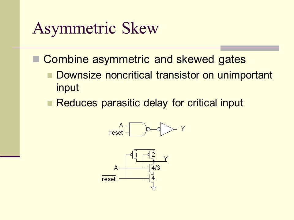 Asymmetric Skew Combine asymmetric and skewed gates