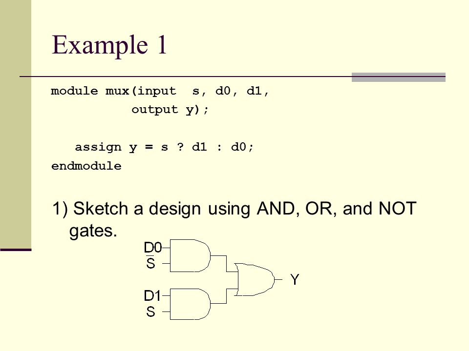 Example 1 1) Sketch a design using AND, OR, and NOT gates.