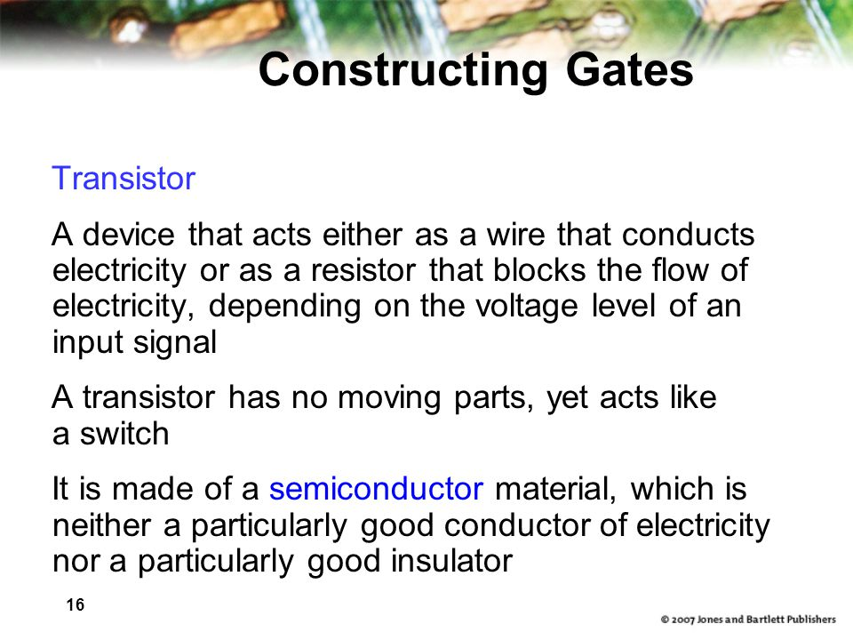 Constructing Gates Transistor