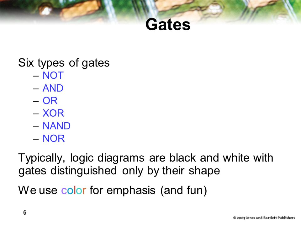 Gates Six types of gates