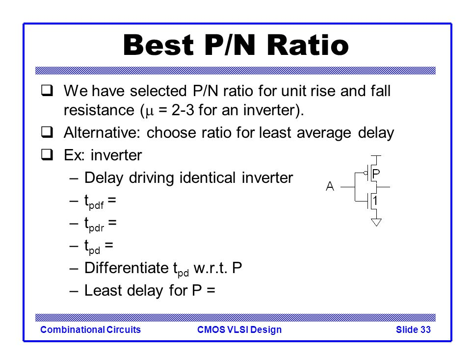 Best P/N Ratio We have selected P/N ratio for unit rise and fall resistance (m = 2-3 for an inverter).