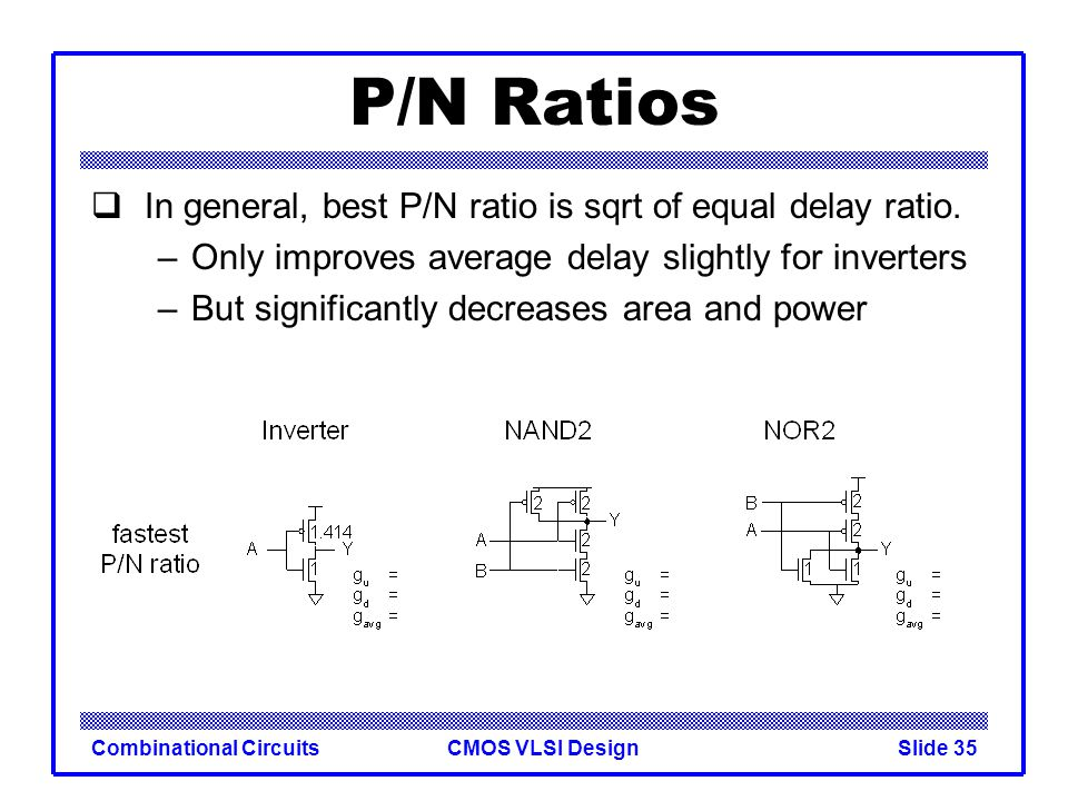 P/N Ratios In general, best P/N ratio is sqrt of equal delay ratio.