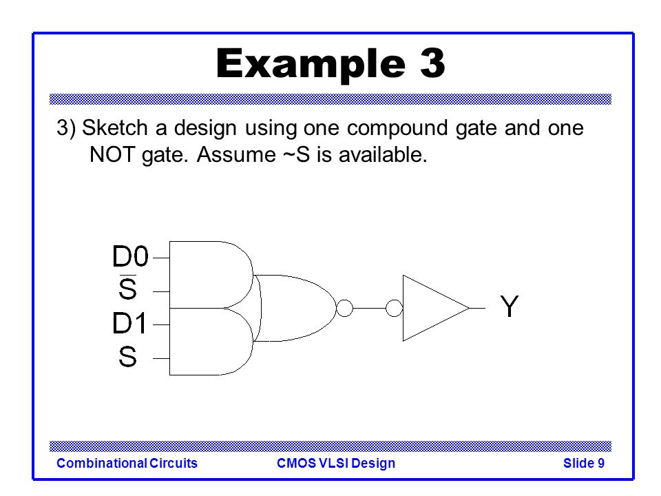 Example 3 3) Sketch a design using one compound gate and one NOT gate.