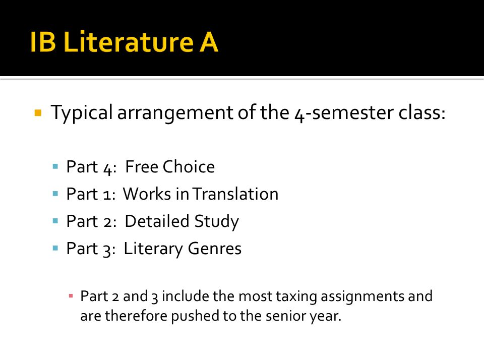 IB Literature A Typical arrangement of the 4-semester class: