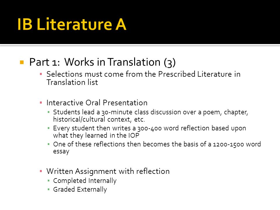 IB Literature A Part 1: Works in Translation (3)