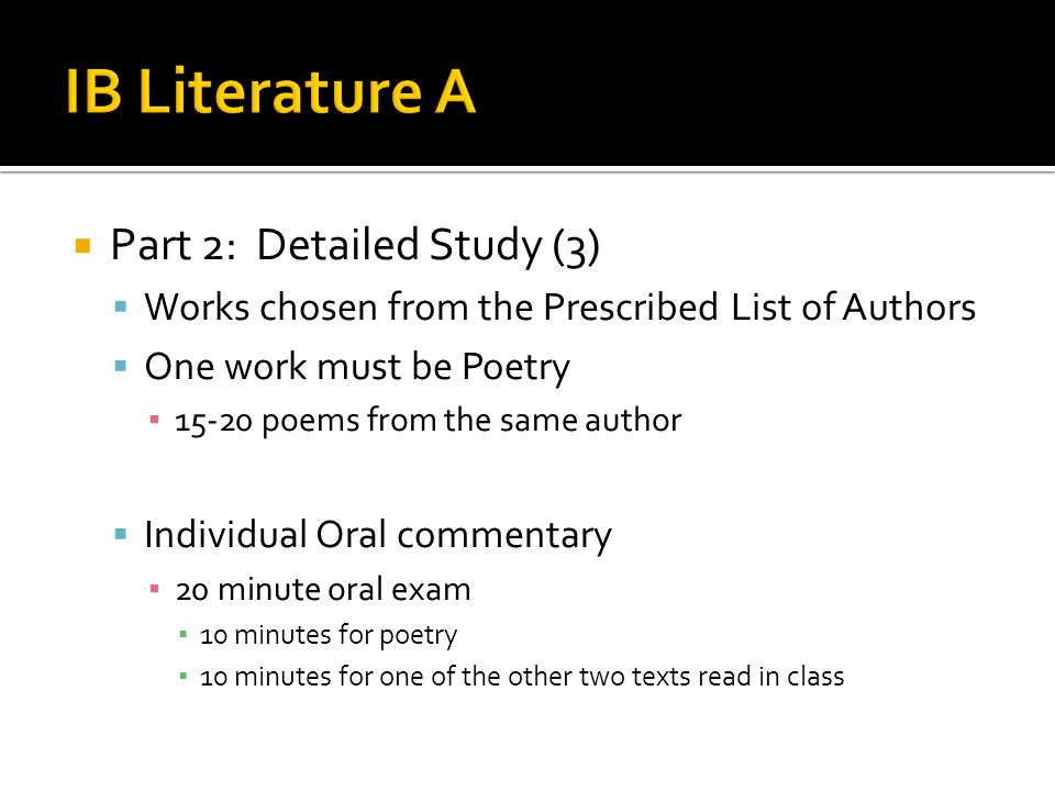 IB Literature A Part 2: Detailed Study (3)
