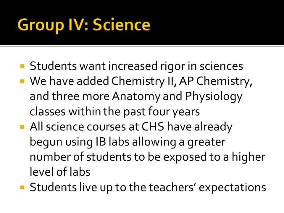 Group IV: Science Students want increased rigor in sciences
