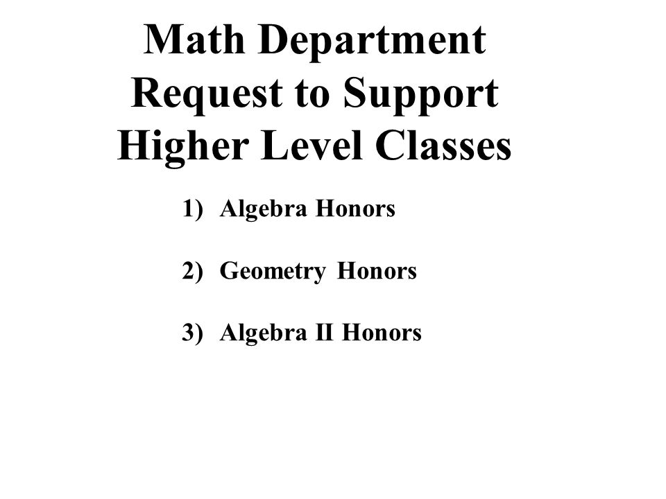 Math Department Request to Support Higher Level Classes