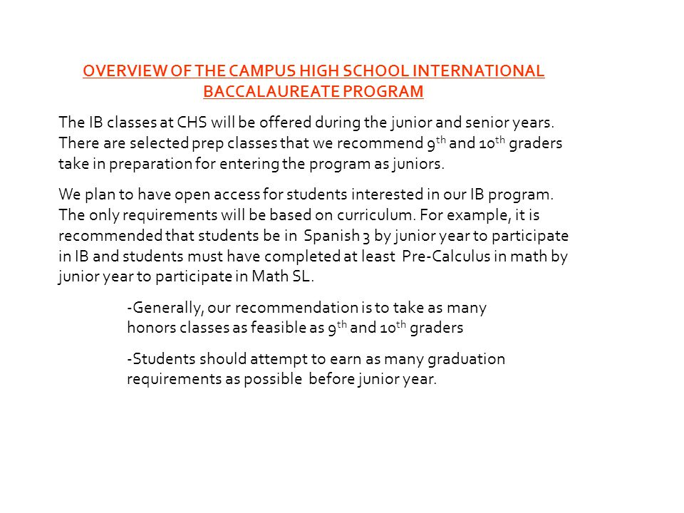 OVERVIEW OF THE CAMPUS HIGH SCHOOL INTERNATIONAL BACCALAUREATE PROGRAM