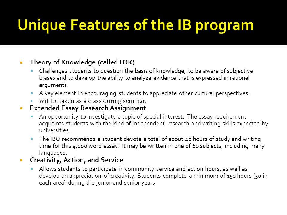 Unique Features of the IB program