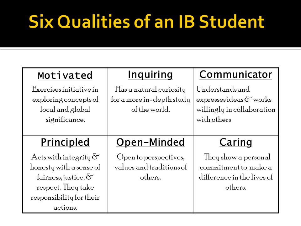 Six Qualities of an IB Student