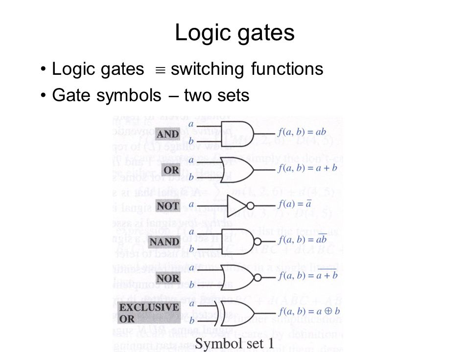 Logic gates Logic gates  switching functions Gate symbols – two sets