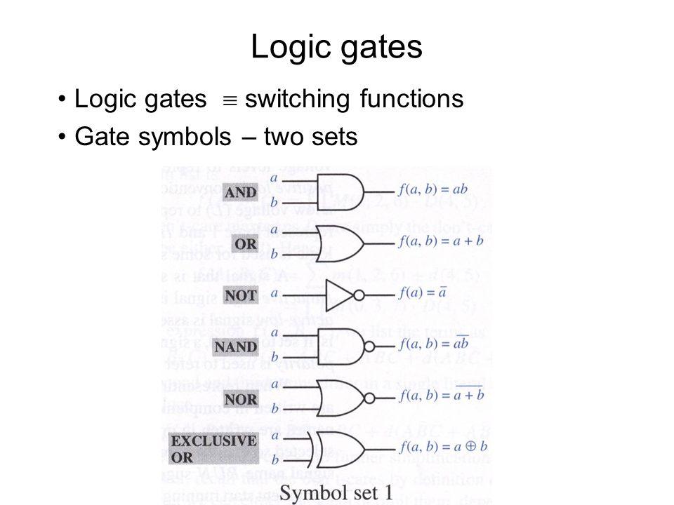 Logic gates Logic gates  switching functions Gate symbols – two sets