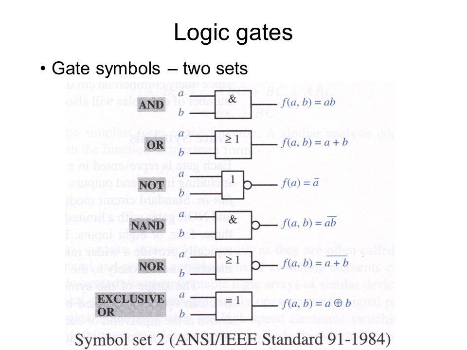 Logic gates Gate symbols – two sets