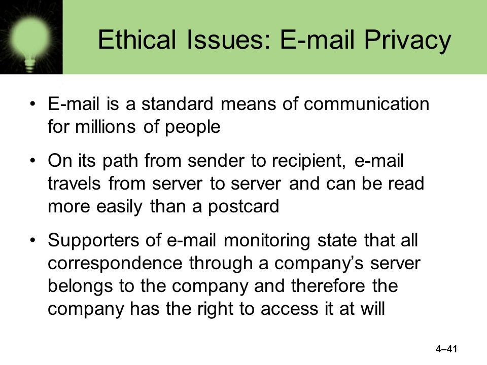 Ethical Issues: E-mail Privacy