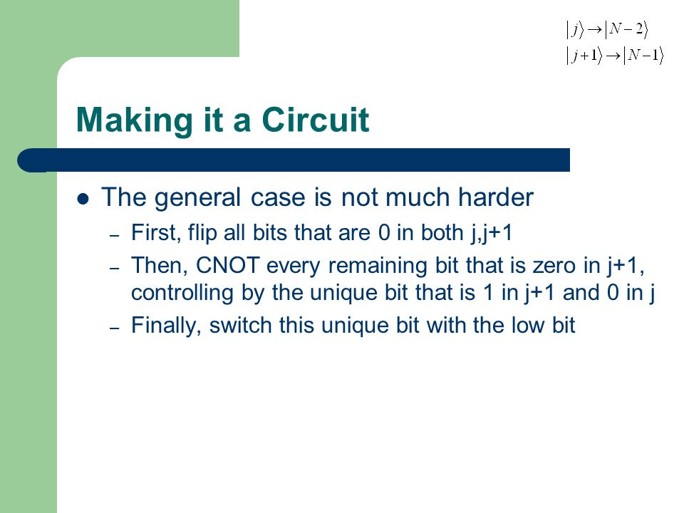 Making it a Circuit The general case is not much harder