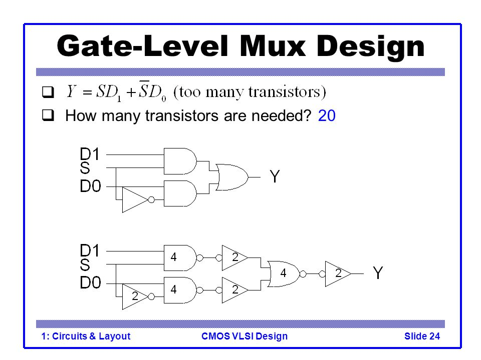 Gate-Level Mux Design How many transistors are needed 20