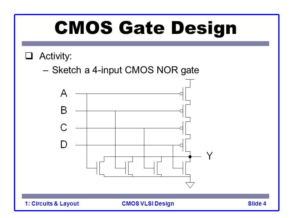 CMOS Gate Design Activity: Sketch a 4-input CMOS NOR gate